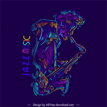 jazz music icon saxophonist sketch colorful classic handdrawn