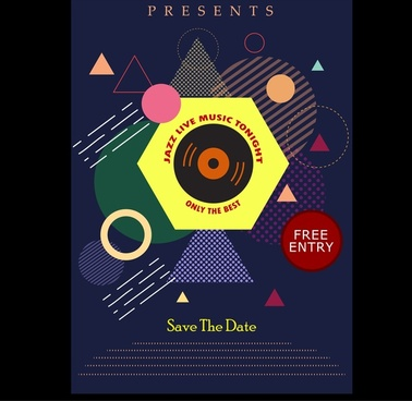 jazz music party flyer geometric dark design