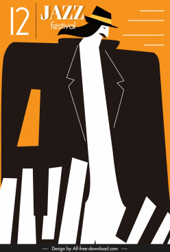 jazz music poster man piano keyboard flat sketch