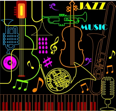jazz musical instrument background colorful neon decoration