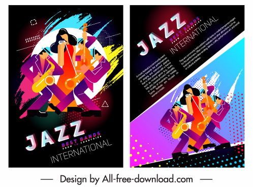 jazz party flyer template band icon colorful decor