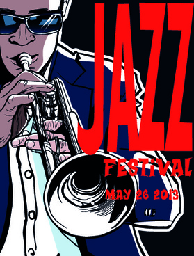 jazz poster publicize template vector