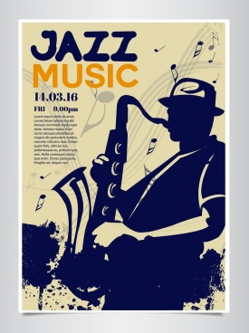 jazz poster saxophone player silhouette music notes decor