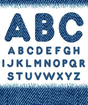 jeans fabric alphabet vector graphics