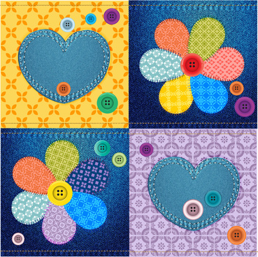 jeans material decoration with flower heart and buttons
