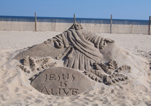 jesus is alive sand sculpture