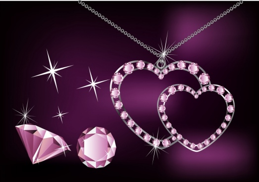 jewelry advertising background sparkling violet ornament diamond icons