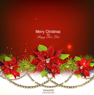jewelry and flowers red xmas backgrounds vector