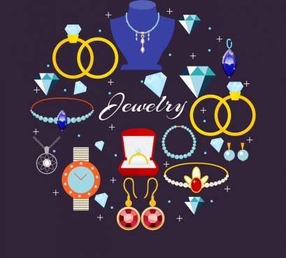 jewelry design elements luxury accessories icons