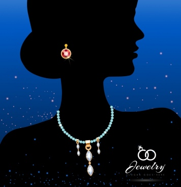 jewelry icon woman silhouette ornament