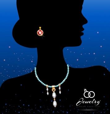 jewelry icon woman silhouette ornament