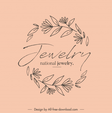 jewelry logo botanical sketch retro handdrawn design
