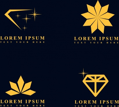 jewelry logotypes various yellow symbols isolation