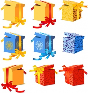 present box icons colorful 3d design