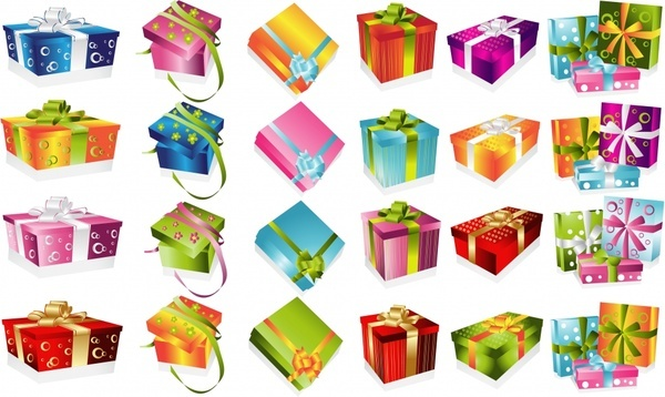 gift box icons colorful decor 3d modern sketch