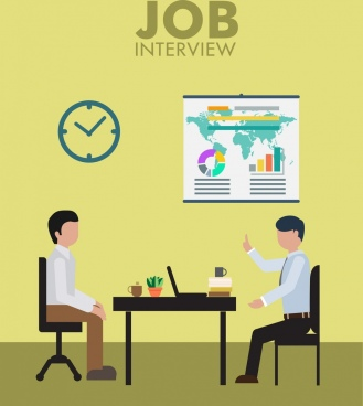 job interview theme colored human icons office theme