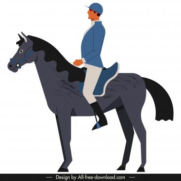 jockey icon colored cartoon sketch