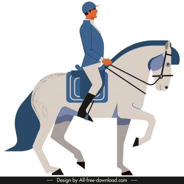 jockey icon colored cartoon sketch classical design