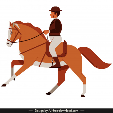 jockey icon man riding horse sketch cartoon design