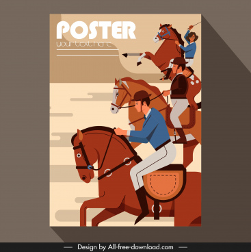 jockey sport poster racing sketch colored classic design