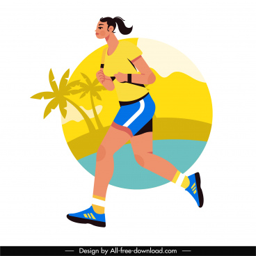 jogger icon colorful flat sketch