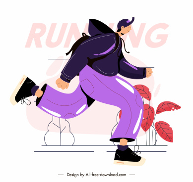 jogging sport icon cartoon character sketch