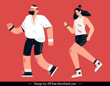 jogging sports icons man woman sketch cartoon design