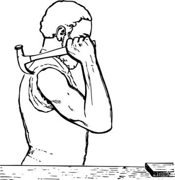 Johnny Automatic Shoulder Position For Hammering clip art