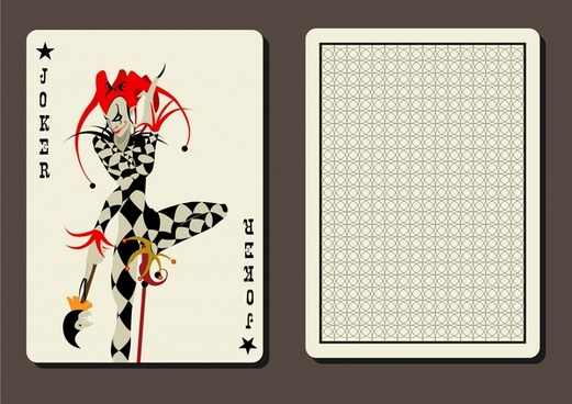 Joker Playing Card Vector Illustration With Two Sides
