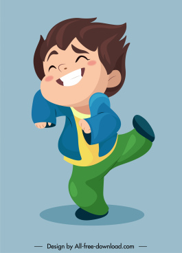 joyful boy icon funny cartoon character sketch