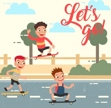 joyful boys drawing rollerskating sports colored cartoon