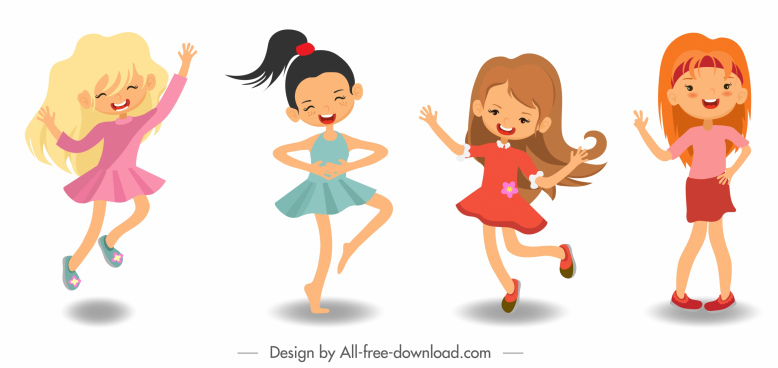 joyful girls icons cute cartoon characters sketch
