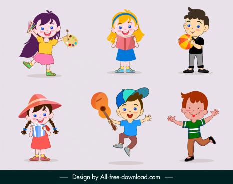 joyful kids icons cute cartoon characters sketch