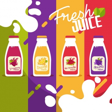 juice advertising background bottle icons colorful flat design