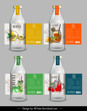 juice bottle label templates retro handdrawn decor
