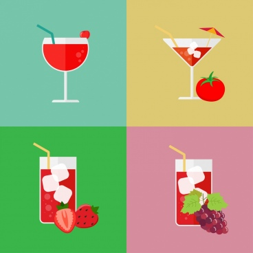 juice cocktail icons various fruit decoration colorful isolation
