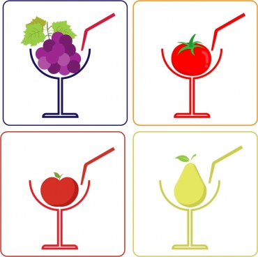 juice icons design grape tomato pear apple decoration