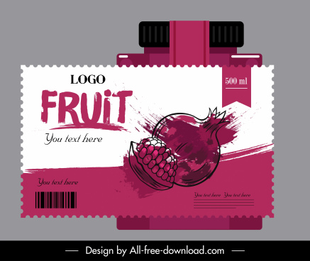 juice label template pomegranate sketch dynamic grunge handdrawn