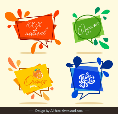 juice label templates colored dynamic geometric speech bubbles
