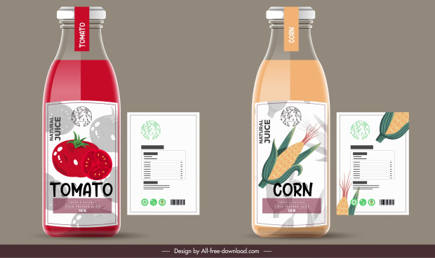 juice label templates tomato corn sketch flat decor