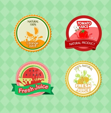 juice labels collection orange tomato watermelon lemon decoration