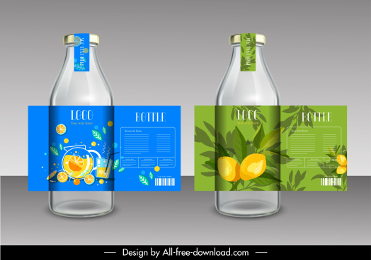 juice labels templates colorful classical decor