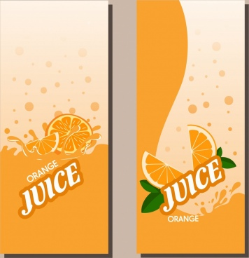 juice leaflet cover sets flat colored orange decoration