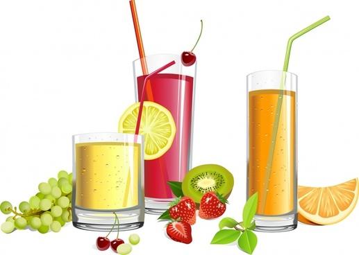 fruit juice advertising colorful 3d realistic design