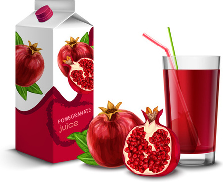 juice with package and fruit vector set