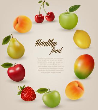 juicy fruit frame vector background