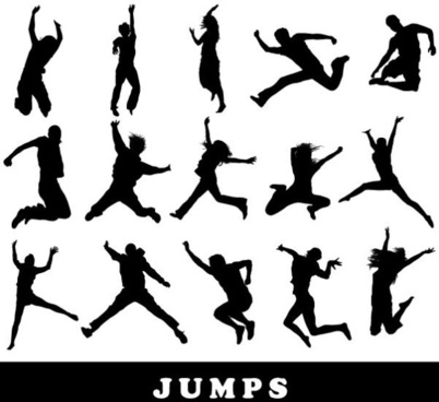 jumping figure silhouette vector