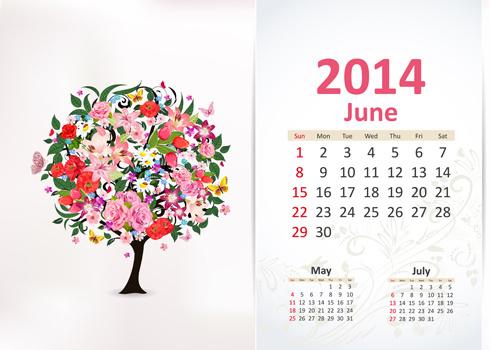 june14 calendar vector