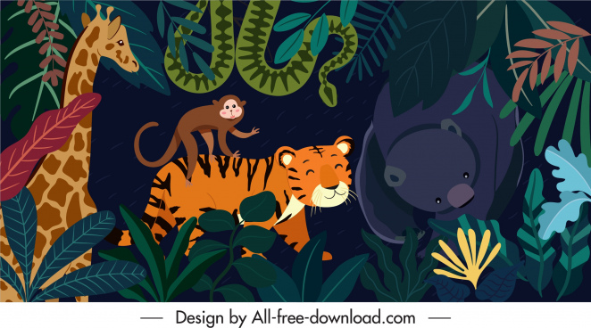 jungle background colorful animals characters sketch