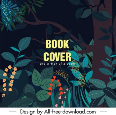 jungle book cover template dark design plants sketch